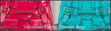 Valentino Histoire Patent Purses   Bright Raspberry and Turquoise Designer Handbags