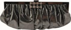 Jessica McClintock Metallic Frame Clutch | Cute Dotty Fabric Evening Bag