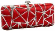La Regale Crystal Clutch | Satin and Metal Spider Web Patterned Evening Bag