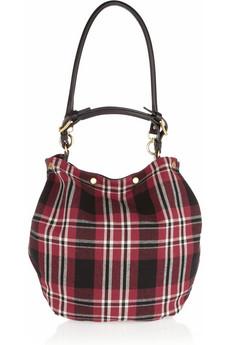 Marni Plaid Wool And Leather Hobo Bag